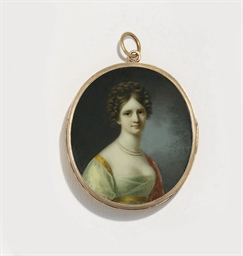 A young lady, in white silk or