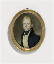 A young gentleman, in blue coat with black collar, ochre waistcoat with gold buttons, white shirt and black knotted cravat, fair hair and sideburns