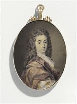 Thomas Harvey, in plum satin mantle, gold and salmon brocaded silver banyan, white knotted lace cravat, lightly powdered dark curling periwig