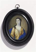 A young lady, in ochre satin open gown with white lining, fastened with a pearl, ruffled linen shift, royal blue satin mantle, her dark curling hair falling over her right shoulder