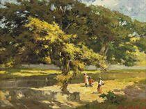 Ochtendzon - Aan de rivierkant, Batavia (Morning sun - at the riverside, Batavia)