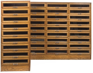 AN OAK MULTI-DRAWER SHOP-FITTI