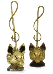 A PAIR OF CAST BRASS 'FOX MASK