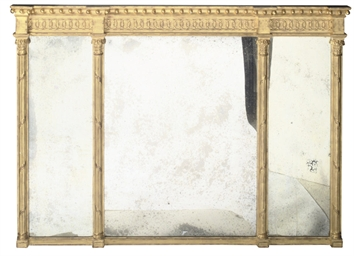 A GILT FRAMED OVERMANTEL MIRRO