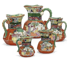 EIGHT MASON'S IRONSTONE JUGS