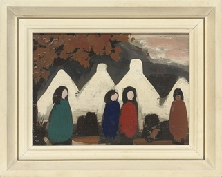 Figures by cottages, Autumn; a