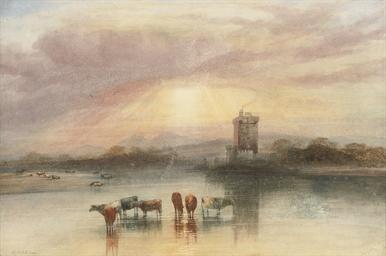 Cattle wattering, a castle bey
