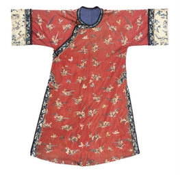 A RED SILK INFORMAL ROBE