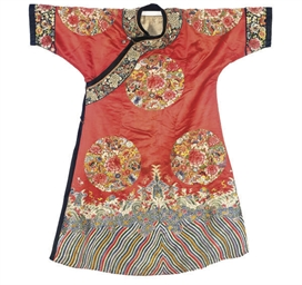 A RED SILK MANCHU STYLE INFORM