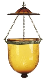 TWO INDIAN GLASS HALL LANTERNS