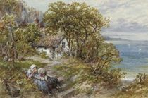Children resting on the steps of a seaside cottage