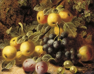 Plums, grapes and gooseberries