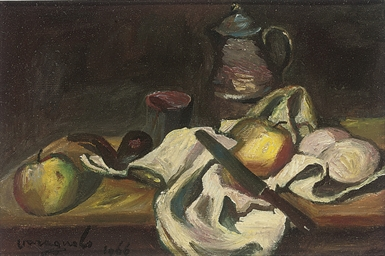 Apples and a pipe on a table;