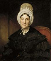 Portrait of Charlotte Sofia, Duchess Dowager of Beaufort (1771-1854), seated half-length, in a black dress and white mob cap