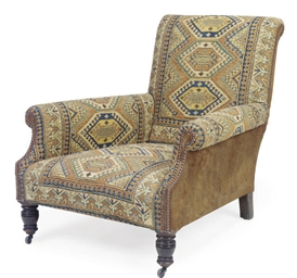 A LATE VICTORIAN EASY ARMCHAIR