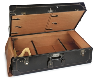 A BLACK LEATHER WARDROBE TRUNK