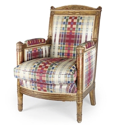 A FRENCH GILTWOOD ARMCHAIR
