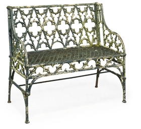A FRENCH CAST-IRON GARDEN BENCH