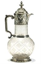 A VICTORIAN SILVER-MOUNTED GLASS CLARET JUG OF ABERCORN PATTERN