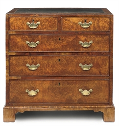 A GEORGE II BURR-WALNUT CHEST
