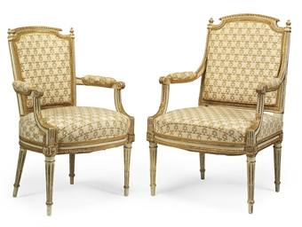 TWO LOUIS XVI PAINTED AND PARC