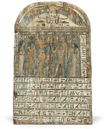AN EGYPTIAN PAINTED WOOD STELE
