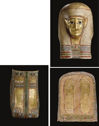 AN EGYPTIAN GILT AND PAINTED C