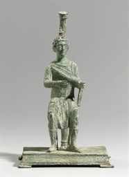 A PARTHIAN BRONZE SEATED MALE