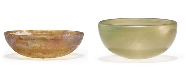 TWO GREEK GLASS BOWLS