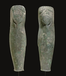 A PAIR OF GREEK BRONZE GREAVES