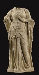 A GREEK MARBLE DRAPED FEMALE