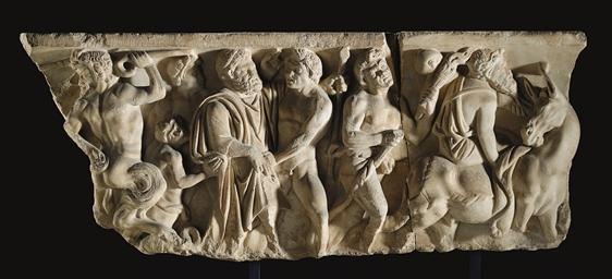 A ROMAN MARBLE SARCOPHAGUS PAN