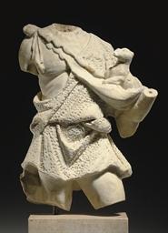 A LATE ROMAN MARBLE SHEPHERD