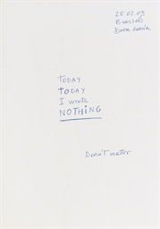 Today I wrote nothing (hommage