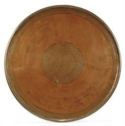 A LARGE QAJAR TINNED COPPER CI