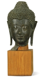 A THAI BRONZE BUDDHA HEAD