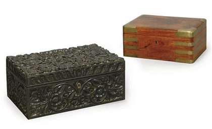 TWO WOODEN CASKETS