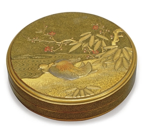 A JAPANESE LACQUER BOX AND COV