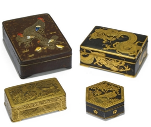 FOUR JAPANESE IRON BOXES