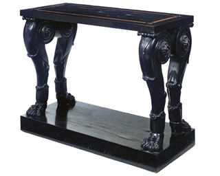 AN EBONY AND EBONISED CONSOLE
