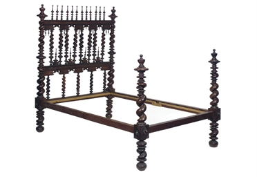 A PORTUGUESE ROSEWOOD BEDSTEAD