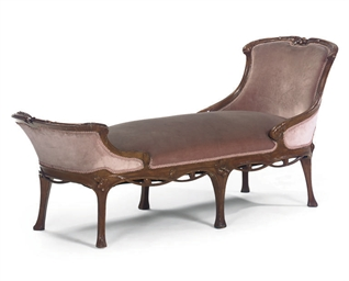 A CARVED MAHOGANY DAYBED