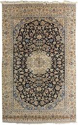 A very fine part silk Nain rug