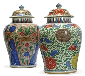 TWO CHINESE WUCAI JARS AND COV