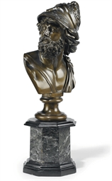 AN ITALIAN BRONZE BUST OF AJAX