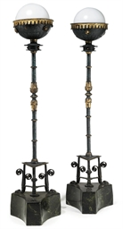 A PAIR OF WROUGHT-IRON FLOOR-S