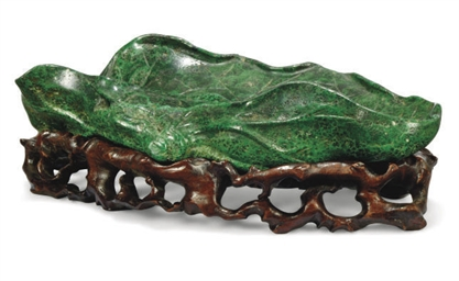 A CHINESE MALACHITE CARVING OF