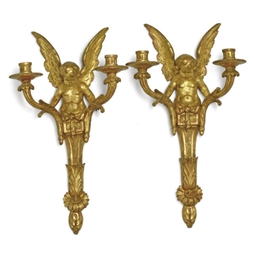 A PAIR OF GILT PLASTER AND WOO