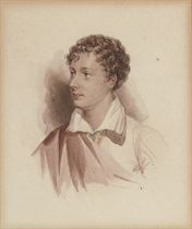 Portrait of Lord Byron, half-length facing to his right