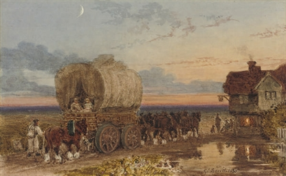 A hay wain arriving at an inn